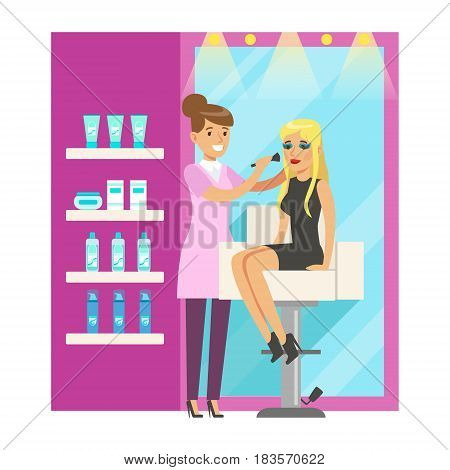Makeup artist applying makeup on a beatuful woman in beauty salon. Colorful cartoon character vector Illustration