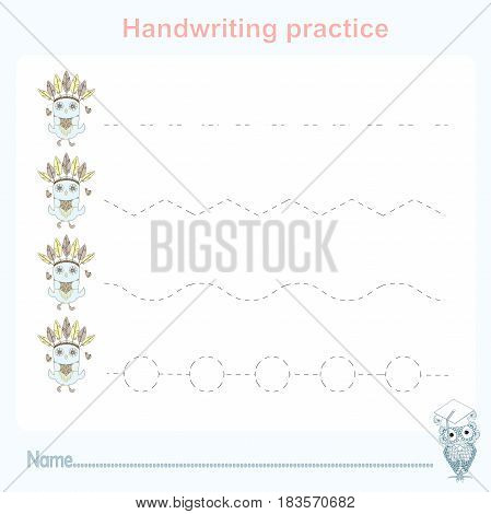 Handwriting practice, games kids, kids activity sheet, training writing practice stock vector illustration