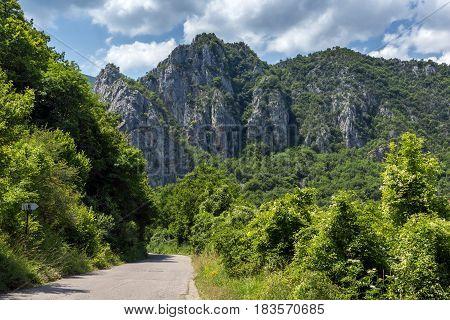 Panorama of Vlasi Village and rock formation of Jerma River Gorge, Dimitrovgrad Region, Serbia