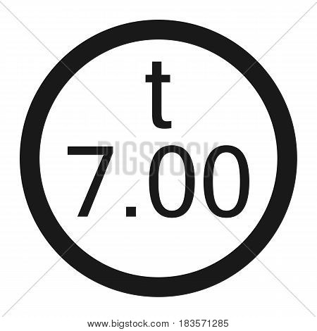Weight limitation 7 tons line icon, Traffic and road sign, vector graphics, a solid pattern on a white background, eps 10.