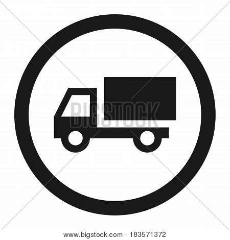 No truck prohibited line icon, Traffic and road sign, vector graphics, a solid pattern on a white background, eps 10.