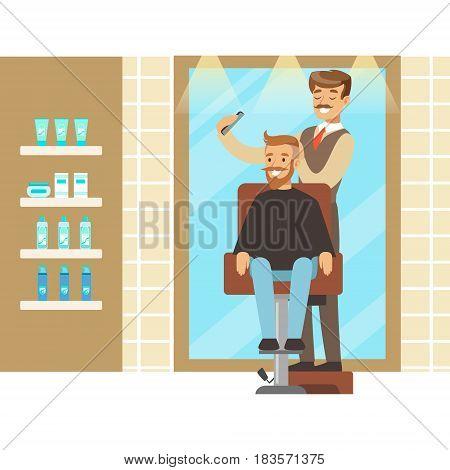 Male hairdresser brushing hair of bearded man. Hair salon or barbershop interior. Colorful cartoon character vector Illustration