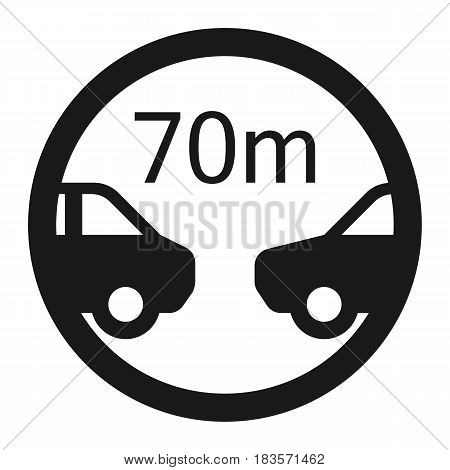 Minimum distance 70m line icon, Traffic and road sign, vector graphics, a solid pattern on a white background, eps 10.