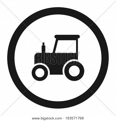 No tractor prohibition sign line icon, Traffic and road sign, vector graphics, a solid pattern on a white background, eps 10.