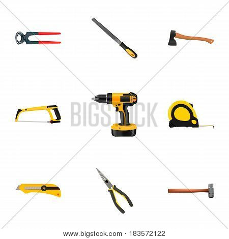 Realistic Length Roulette, Sharpener, Nippers And Other Vector Elements. Set Of Construction Realistic Symbols Also Includes Sledgehammer, Nippers, Drill Objects.