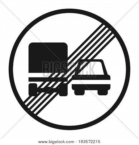 End of prohibition overtaking for trucks sign line icon, Traffic and road sign, vector graphics, a solid pattern on a white background, eps 10.