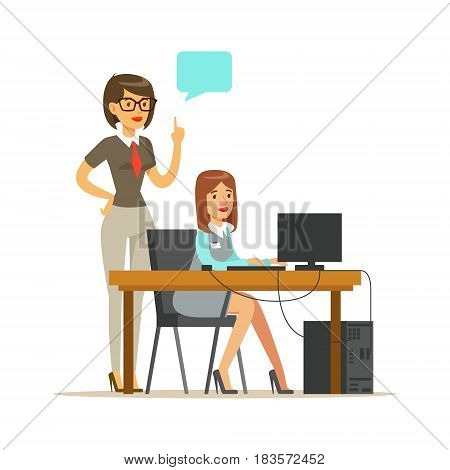 Businesswoman standing at her subordinate and making notes, office at background. Positive working in the office. Colorful cartoon character vector Illustration