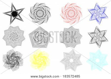Abstract geometric shapes , Star , flower , polygon