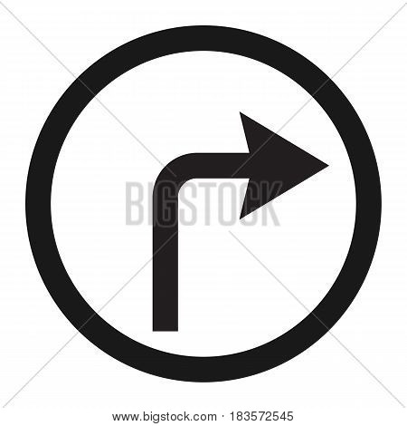 Turn right arrow sign line icon, Traffic and road sign, vector graphics, a solid pattern on a white background, eps 10