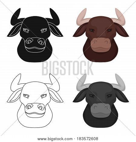 Head of bull icon in cartoon design isolated on white background. Spain country symbol stock vector illustration.