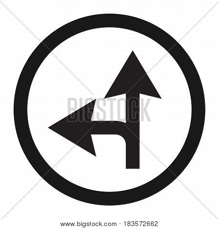 Compulsory ahead or left sign line icon, Traffic and road sign, vector graphics, a solid pattern on a white background, eps 10