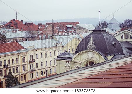 View of the roofs of the historical buildings Chernivtsi Ukraine
