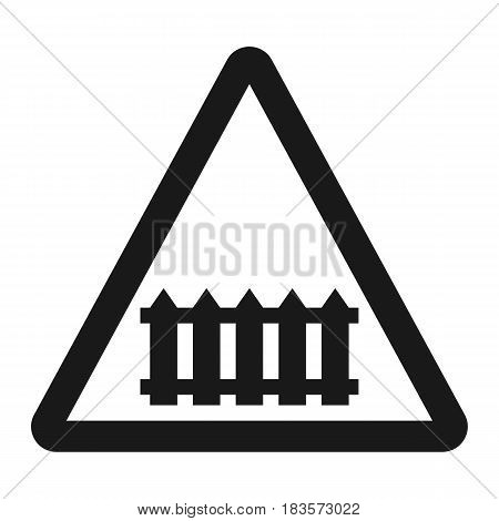 Railroad crossing with barrier sign line icon, Traffic and road sign, vector graphics, a solid pattern on a white background, eps 10
