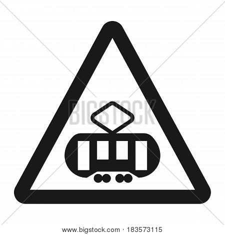Crossing with a tram sign line icon, Traffic and road sign, vector graphics, a solid pattern on a white background, eps 10