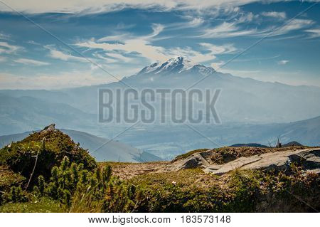 The foggy view of Cayambe volcano in Ecuador