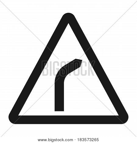 Bend to right warning sign line icon, Traffic and road sign, vector graphics, a solid pattern on a white background, eps 10