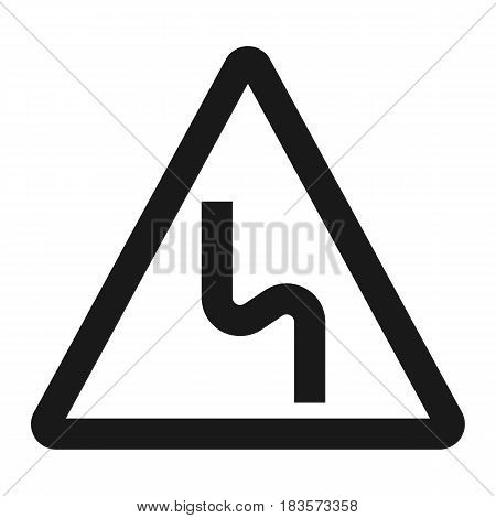 Dangerous double bend sign line icon, Traffic and road sign, vector graphics, a solid pattern on a white background, eps 10