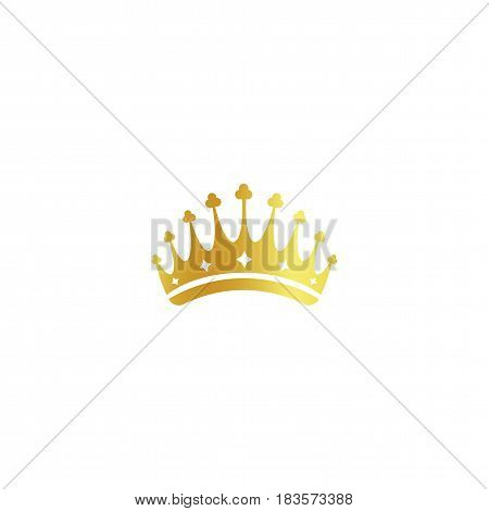 Isolated golden color crown logo on white background, luxury royal sign, jewel vector illustration.