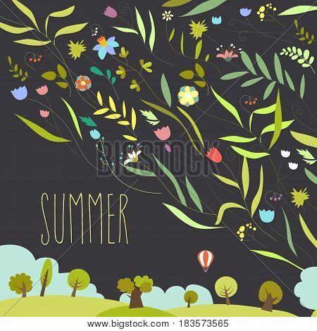 Blooming flowers with summer landscape. Vector illustration