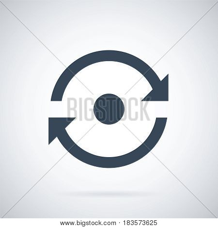 Reload vector icon. Arrow pictogram refresh rotation loop. Simple black icon on white background. Vector illustration web design elements