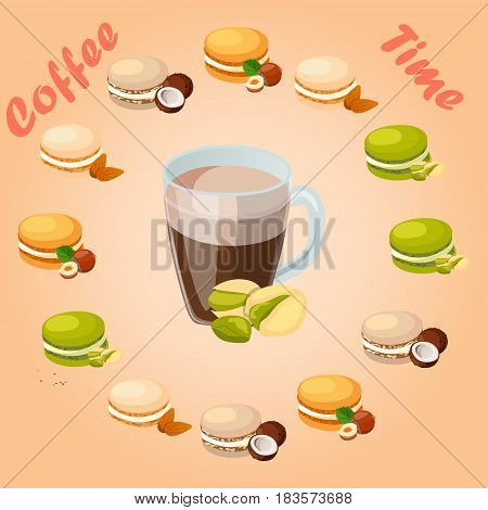 Very high quality original trendy vector illustration cup of pistachio coffee and macaroons cookie with different taste