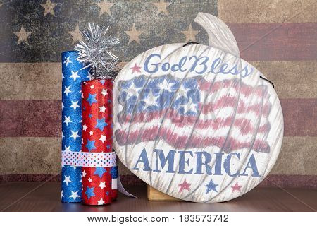 A patriotic still life for the Fourth of July holiday