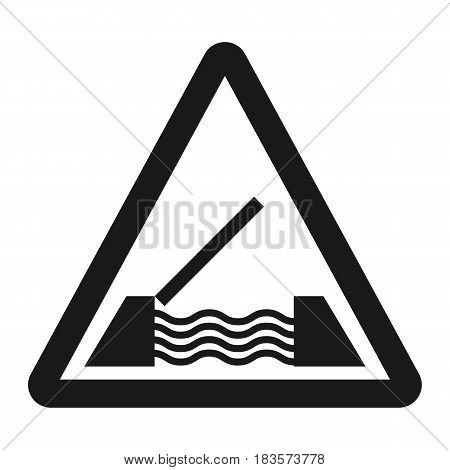 Drawbridge ahead sign line icon, Traffic and road sign, vector graphics, a solid pattern on a white background, eps 10