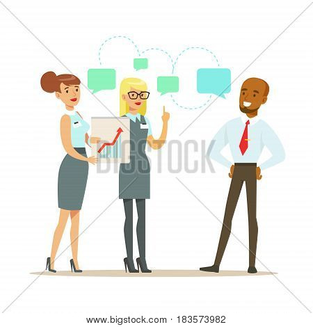 Business partners discussing financial results at meeting. Positive working in the office. Colorful cartoon character vector Illustration