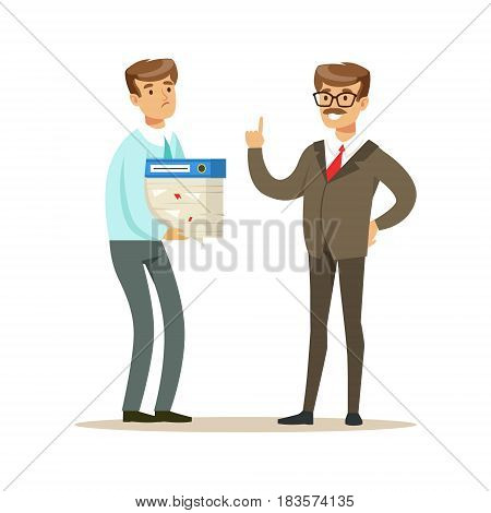 Businessman holding a lot of papers in his hands and listening to his boss. Colorful cartoon character vector Illustration