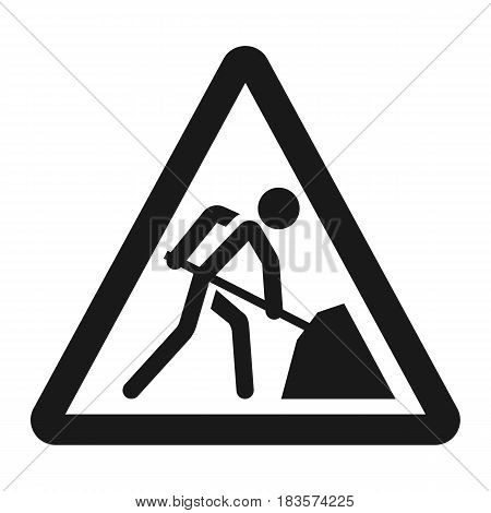 Road works sign line icon, Traffic and road sign, vector graphics, a solid pattern on a white background, eps 10