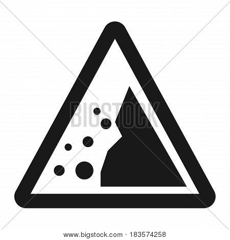 Falling rocks sign line icon, Traffic and road sign, vector graphics, a solid pattern on a white background, eps 10