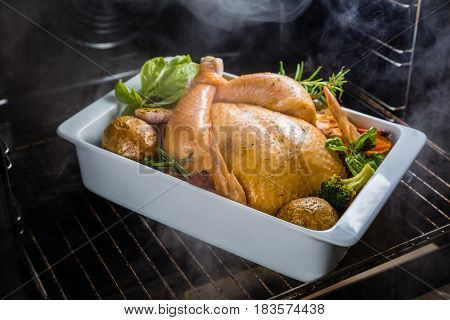 Roasted whole chicken with herbs and spices in the oven