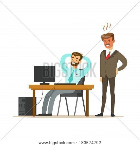 Angry boss yelling at employee. Colorful cartoon character vector Illustration