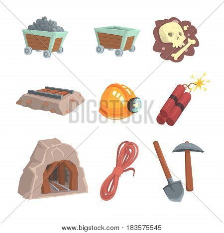 Mineral mining, coal industry set for label design. Colorful cartoon detailed vector Illustrations isolated on white background