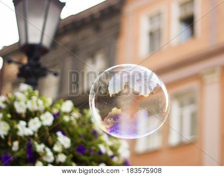 Big soap bubble flies through air in city soft focus