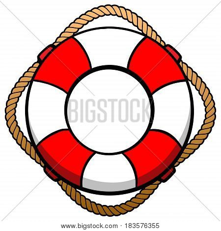 A vector illustration of a boat Lifebuoy.