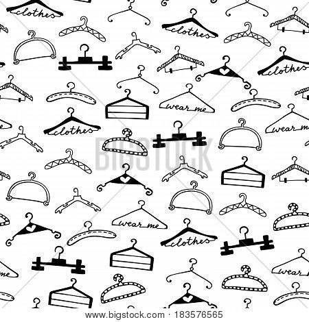Doodle seamless clothes hangers pattern. Hand drawn cute fashion style scribble. Graphic design element for scrapbooking, advertisement, web site, print, sale, invitation, flyer. Vector illustration