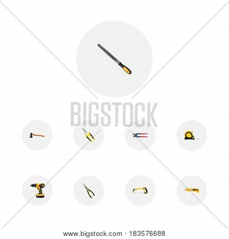 Realistic Length Roulette, Stationery Knife, Electric Screwdriver And Other Vector Elements. Set Of Tools Realistic Symbols Also Includes Knife, Clippers, Long Objects.