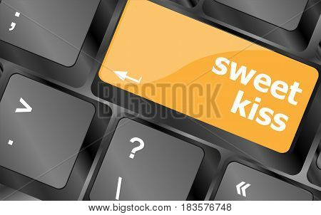 Sweet Kiss Words Showing Romance And Love On Keyboard Keys