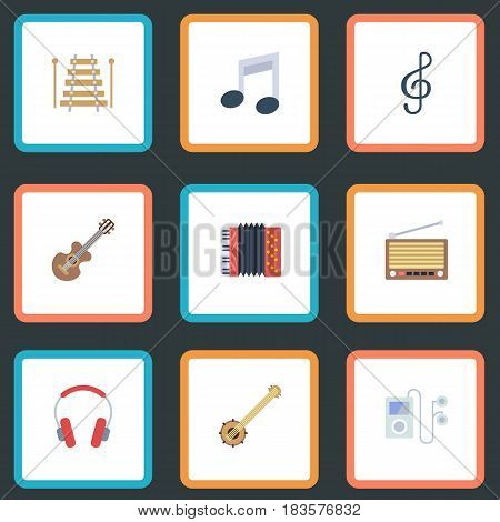 Flat Acoustic, Radio, Tone Symbol And Other Vector Elements. Set Of Audio Flat Symbols Also Includes Audio, Acoustic, Symbol Objects.