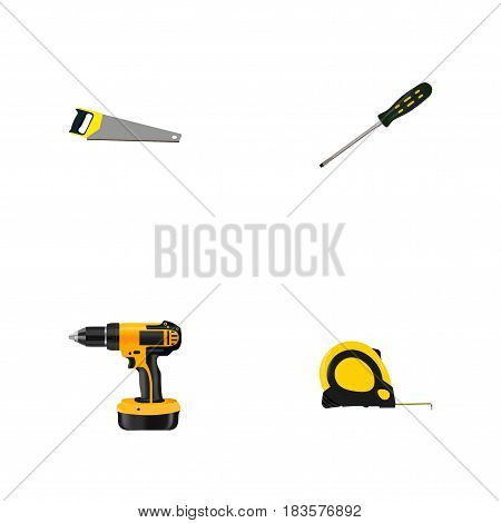 Realistic Length Roulette, Carpenter, Electric Screwdriver And Other Vector Elements. Set Of Instruments Realistic Symbols Also Includes Carpenter, Saw, Measure Objects.