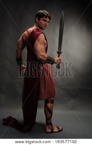 The sexy highlander is ready for his battle.