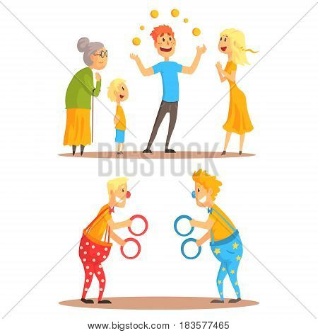Young man juggling with oranges before his family. Clowns juggling with rings on a circus show. Circus or street actors set of colorful cartoon detailed vector Illustrations isolated on white background