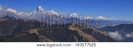 Autumn day in the Himalayas. Annapurna range seen from Mohare Danda Nepal.