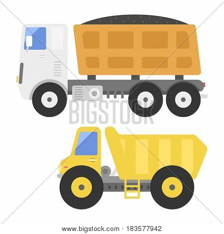 Dump truck transportation construction vehicle and road machine equipment. Dumper business truck cargo sand container large platform industrial car vector illustration.