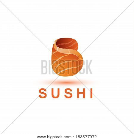 Sushi logo template. The letter B looks like a fresh piece of salmon fish.