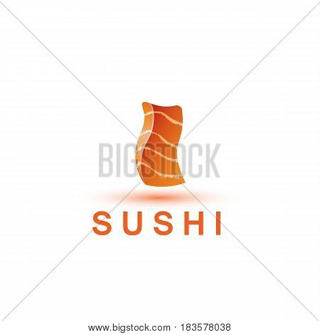 Sushi logo template. The letter I looks like a fresh piece of salmon fish.