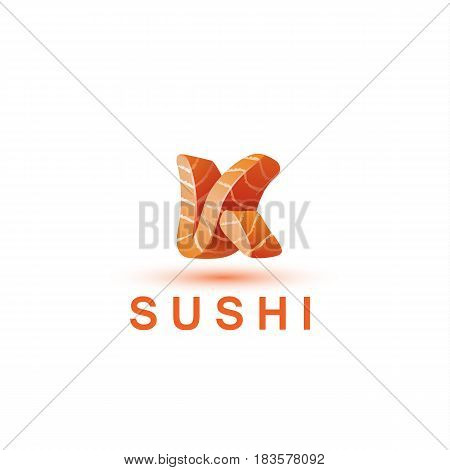 Sushi logo template. The letter K looks like a fresh piece of salmon fish.
