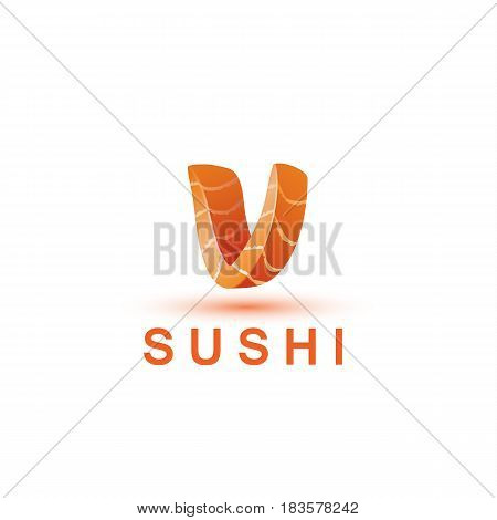 Sushi logo template. The letter V looks like a fresh piece of salmon fish.