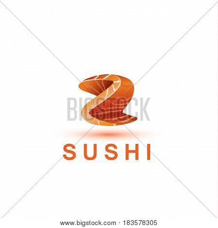 Sushi logo template. The letter Z looks like a fresh piece of salmon fish.